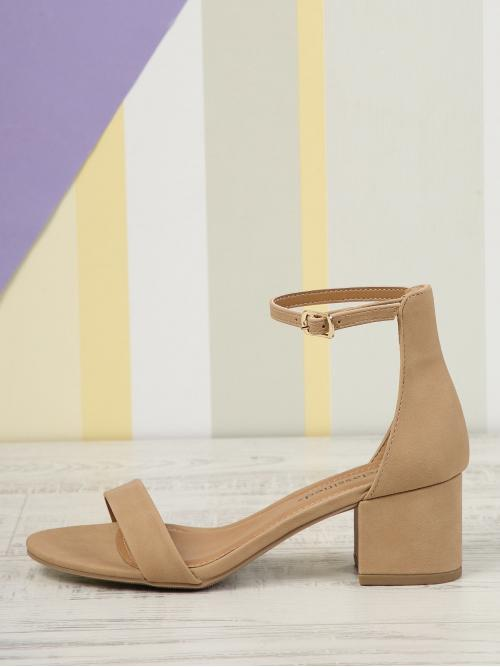 Business Casual Ankle Strap Nude Mid