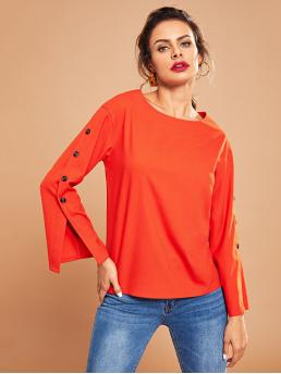 Casual Plain Top Regular Fit Boat Neck Three Quarter Length Sleeve Pullovers Orange and Bright Regular Length Neon Orange Button Detail Solid Top