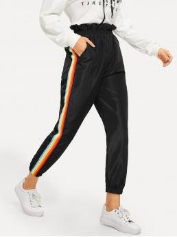 Sporty Striped Tapered/Carrot Regular Mid Waist Black Long Length Rainbow Striped Side Pants