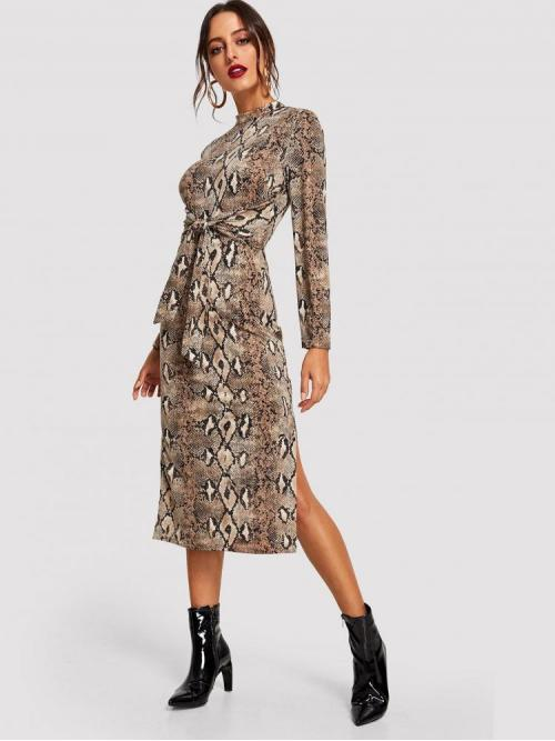 Multicolor Snakeskin Print Button Stand Collar Knot Front Side Snakeskin Dress Beautiful