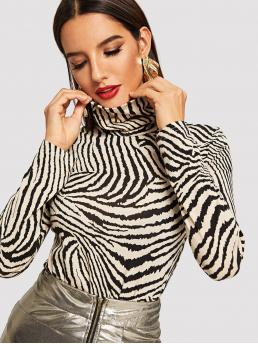 Elegant Animal Slim Fit High Neck Long Sleeve Pullovers Black and White Regular Length High Neck Zebra Print Fitted Tee