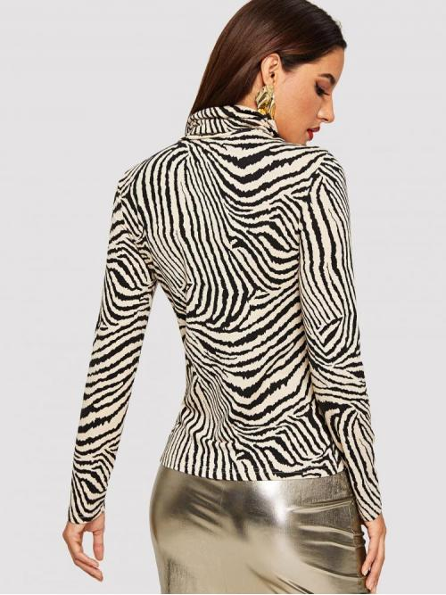 Long Sleeve Tank Contrast Mesh Polyester Zebra Print Fitted Tee Fashion