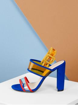 Glamorous Open Toe Colorblock Slingbacks Multicolor High Heel Chunky Transparent Band Slingback Block Heel Sandals