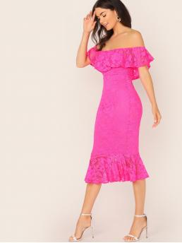 Glamorous Flounce Off the Shoulder Short Sleeve Natural Pink and Bright Midi Length Off Shoulder Ruffle Hem Neon Lace Midi Dress with Lining