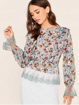 Boho Ditsy Floral Top Regular Fit Boat Neck Long Sleeve Pullovers Blue Regular Length Ruffle Trim Embroidered Mesh Cuff & Hem Floral Top