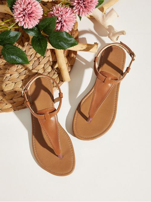 Boho Ankle Strap Brown Solid Toe Post Ankle Strap Sandals