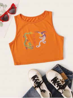 Casual Tank Animal Slim Fit Straps Orange Crop Length Dragon & Phoenix & Chinese Characters Print Tank Top