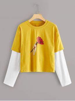 Casual Floral and Colorblock Regular Fit Round Neck Long Sleeve Pullovers Yellow Regular Length Rose & Gesture Print Contrast Sleeve Tee