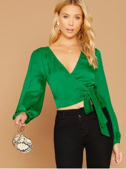 Casual Plain Top Regular Fit V neck Long Sleeve Bishop Sleeve Pullovers Green Crop Length Satin Long Sleeve Wrap Blouse