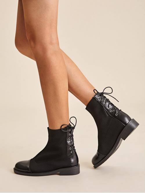 Comfort Lace-up Boots Round Toe Plain No zipper Black Lace-up Back Knit Panel Boots
