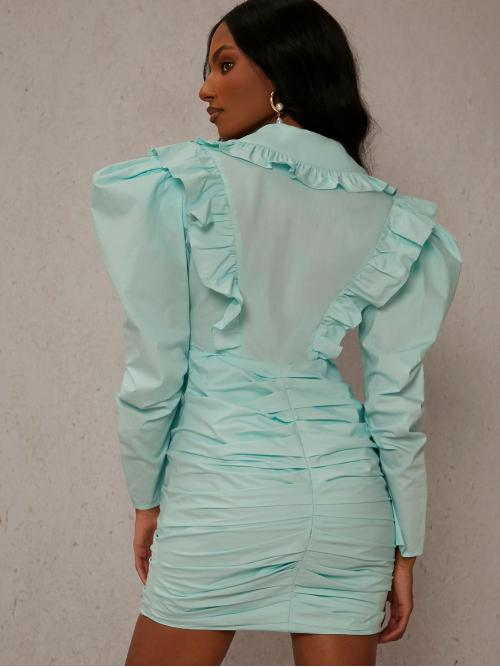 Mint Green Plain Button Front Peter Pan Collar Ruffle Detail Gigot Sleeve Dress Discount
