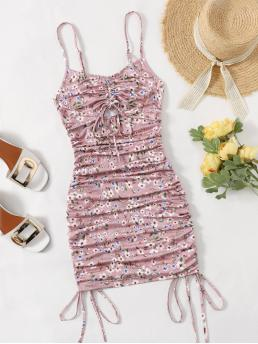 Trending now Dusty Pink Ditsy Floral Drawstring Spaghetti Strap Ruched Peekaboo Dress