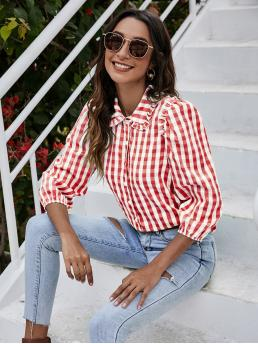 Three Quarter Length Sleeve Shirt Button Front Polyester Frill Trim Blouse Clearance