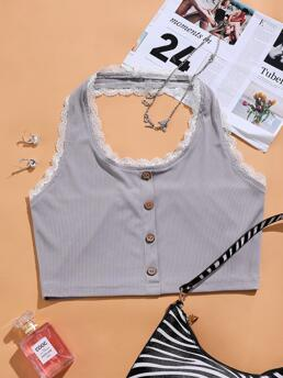 Halter Rib-knit Polyester Colorblock Lace Trimed Top Fashion