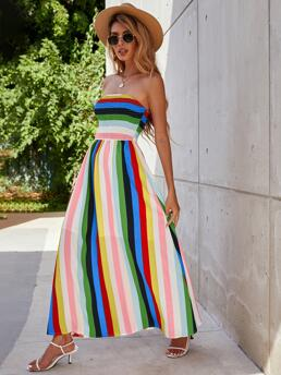 Multicolor Colorblock Shirred Strapless Colorful Bust Tube Dress Affordable