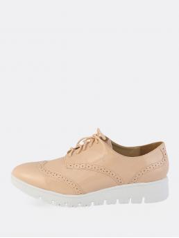 Comfort Lace Up Nude Mid Heel Tie Up Shiny Oxfords NATURAL