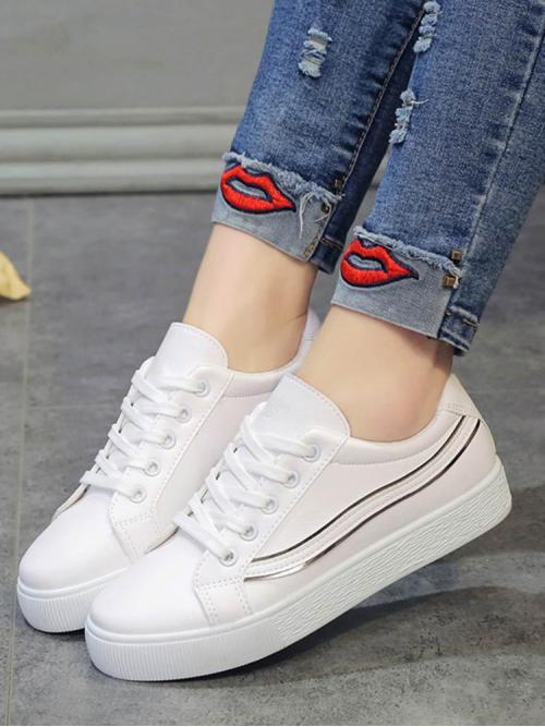 Corduroy White Skate Shoes Hollow Metallic Detail Sneakers Beautiful