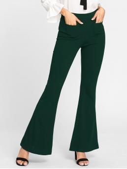Elegant Flare Leg Plain Regular Mid Waist Green Long Length Patch Pocket Front Flared Pants
