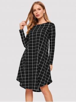 Casual Plaid Loose Round Neck Long Sleeve Natural Black and White Midi Length Grid Print Curved Hem Dress