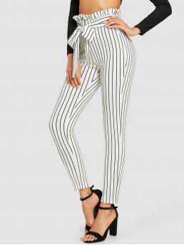 Casual Striped Skinny Elastic Waist High Waist White Cropped Length Paperbag Tie Waist Striped Pants with Belt