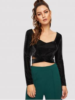 Glamorous and Sexy Plain Slim Fit V neck Long Sleeve Pullovers Black Crop Length Cross Strap Hem Ribbed Velvet Top