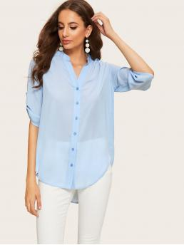 Basics Plain Shirt Regular Fit Stand Collar and V neck Long Sleeve Roll Up Sleeve Placket Blue and Pastel Longline Length Rolled Tab Sleeve Curved Hem Shirt