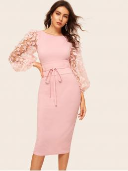 Romantic Bodycon Floral Slim Fit Boat Neck Long Sleeve Bishop Sleeve Natural Pink and Pastel Long Length 3D Appliques Mesh Sleeve Corest Belted Bodycon Dress with Belt