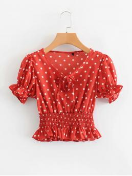 Boho Polka Dot Peplum Regular Fit V neck Short Sleeve Flounce Sleeve Half Placket Red Crop Length Shirred Waist Polka Dot Peplum Blouse