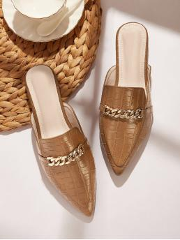 Comfort Point Toe Crocodile Khaki Chain Decor Croc Embossed Mules