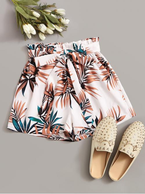 Casual Tropical Loose Elastic Waist High Waist Multicolor Tropical Print Belted Paperbag Shorts with Belt
