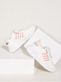 Comfort Round Toe Striped White Striped Lace-up Front Sneakers