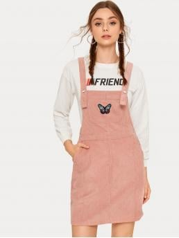 Preppy Pinafore Animal Straight Regular Fit Straps Sleeveless High Waist Pink Short Length Butterfly Embroidered Corduroy Pinafore Dress