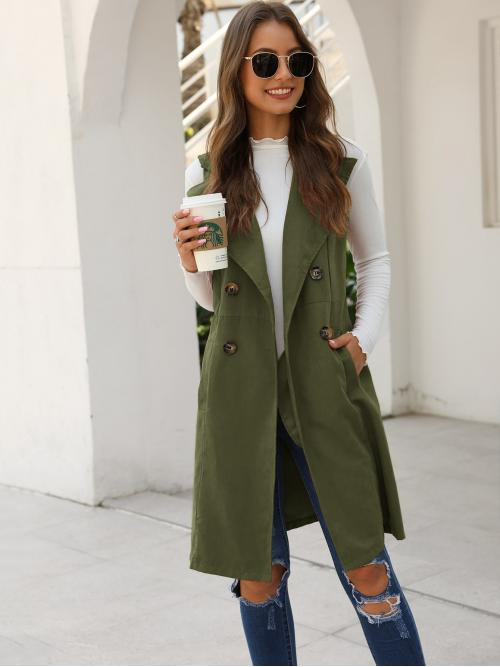 Casual Vest Plain Regular Fit Waterfall Sleeveless Double Breasted Army Green Midi Length Double Breasted Pocket Side Vest Coat