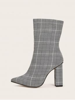 Comfort Other Plaid Side zipper Grey High Heel Chunky Point Toe Plaid Chunky Boots