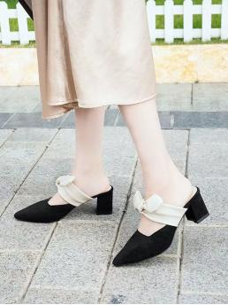 Business Casual Point Toe Colorblock Black and White Mid Heel Chunky Bow Decor Chunky Heeled Mules