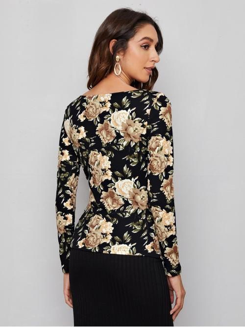 Fashion Long Sleeve Polyester Floral Multicolor Tee