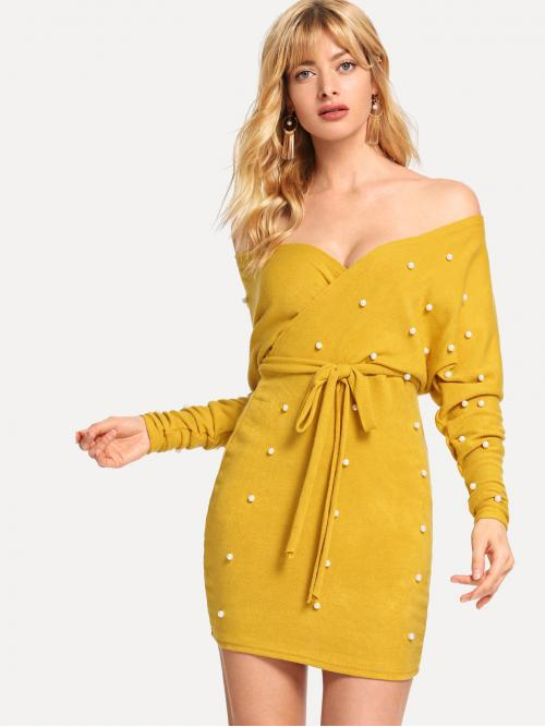 Yellow Plain Pearls off the Shoulder Pearl Beaded Cut out Back Dress Sale