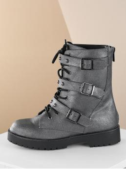 Comfort Combat Boots Round Toe Plain Back zipper Silver Low Heel Chunky Lace Up Studded Strap Buckle Closures Combat Boots
