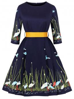 Vintage A Line Animal and Plants Ball Gown Regular Fit Round Neck Three Quarter Length Sleeve High Waist Navy Midi Length 50s Animal And Plants Print Dress with Belt