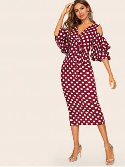 Boho Bodycon Polka Dot Pencil Slim Fit Deep V Neck Half Sleeve Layered Sleeve Natural Burgundy Long Length Surplice Neck Cold Shoulder Belted Dot Dress with Belt