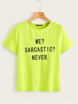 Casual Slogan Regular Fit Round Neck Short Sleeve Pullovers Green and Bright Regular Length Neon Lime Slogan Print Top