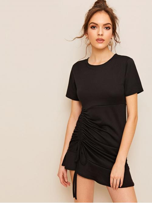 Casual Tee Plain Flounce Regular Fit Round Neck Short Sleeve Natural Black Short Length Drawstring Side Ruched Ruffle Hem Dress