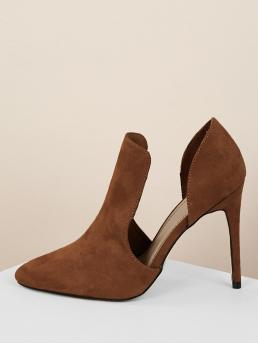 Glamorous Point Toe D'orsay Camel High Heel Stiletto Side Cut Out High Vamp Pointed Toe Stiletto Heels