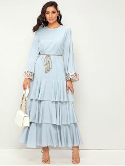 Elegant A Line Layered/Tiered Regular Fit Round Neck Long Sleeve Natural Blue and Pastel Maxi Length Contrast Tweed Cuff Ruffle Hem Layered Dress With Tassel Belt with Belt