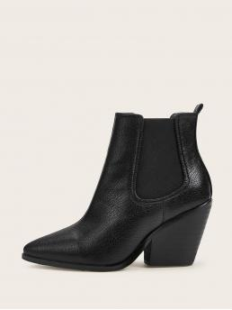 Business Casual Chelsea Boots No zipper Black High Heel Chunky Point Toe Chunky Heeled Chelsea Boots