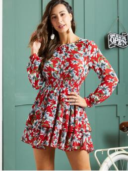 Boho A Line Floral Layered/Tiered Regular Fit Round Neck Long Sleeve Regular Sleeve High Waist Multicolor Short Length SBetro Floral Print Shirred Waist Layered Dress