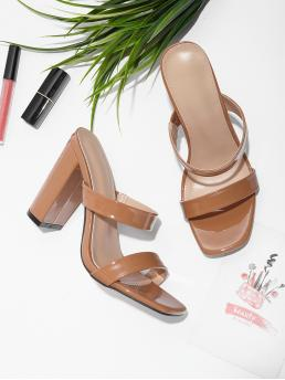 Mules Open Toe Plain Brown Ultra High Heel Chunky Double Strap Chunky Heeled Mules