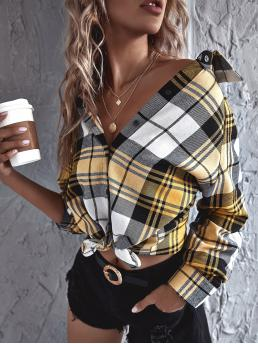 Long Sleeve Tunic Button Front Polyester Plaid Button Upline Blouse Cheap