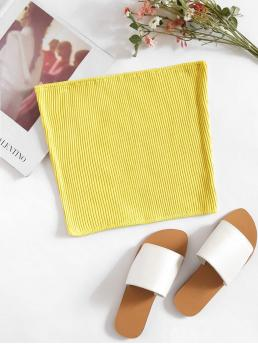 Sexy Plain Slim Fit Yellow and Bright Crop Length Ribbed Bandeau Top
