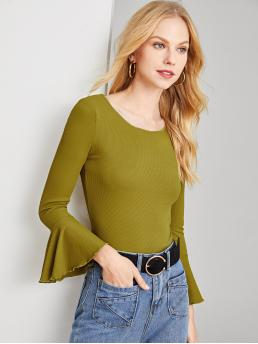 Long Sleeve Cami Lettuce Trim Polyester Lettuce Edge Bell Cuff Ribbed T-shirt on Sale